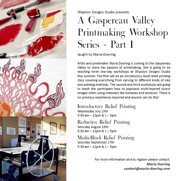 Gaspereau Valley Printmaking Workshop Series - Part I